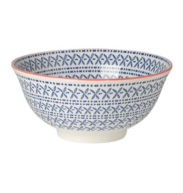 Now Designs Stamped Bowl, Blue Cross