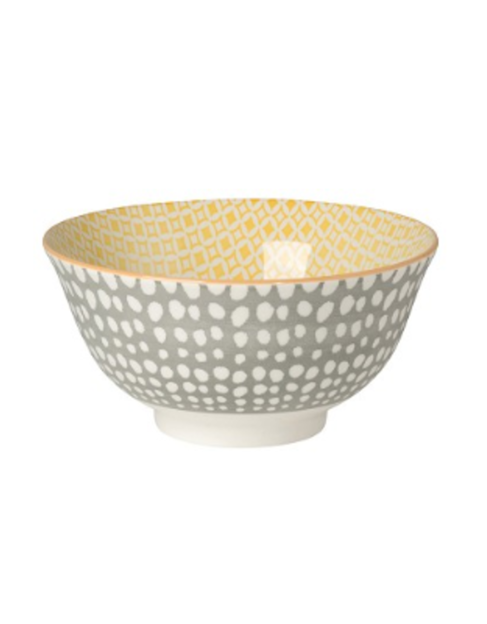 Now Designs Stamped Bowl, Gray Dots