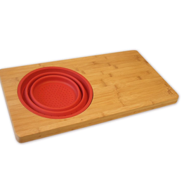 Island Bamboo Over-the-Sink Board w/ Colander, red