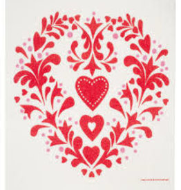 Cose Nuove Swedish Dishcloth, Folk Heart Red