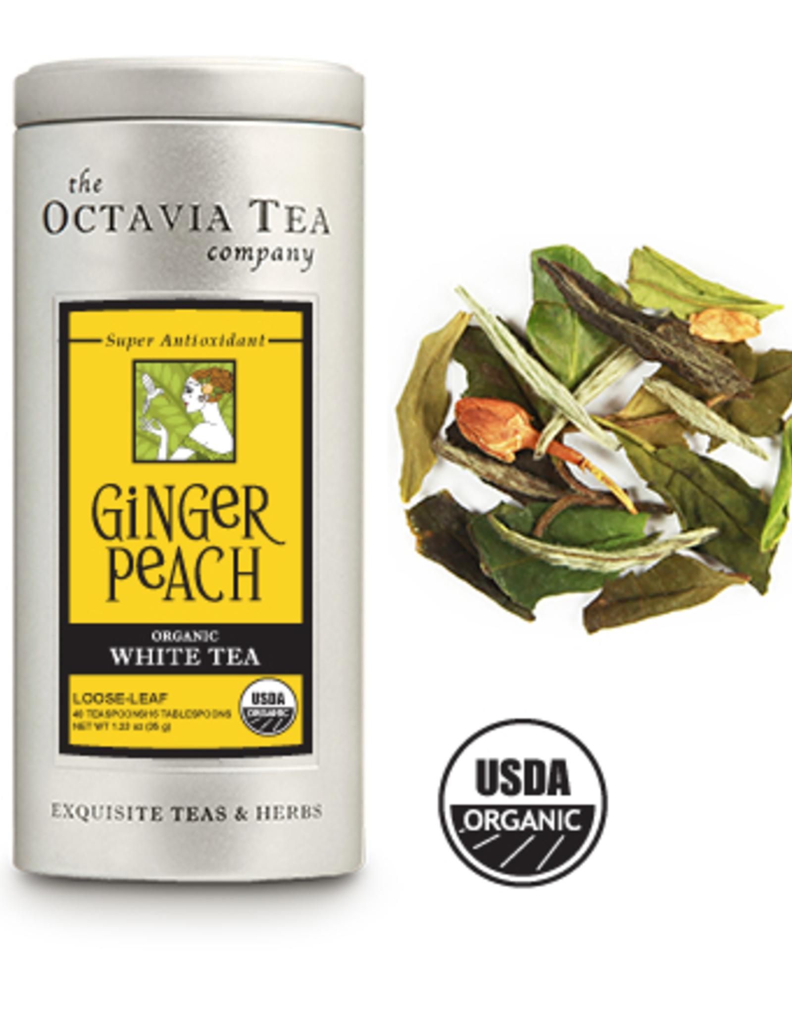 Octavia Tea Company Ginger Peach White Tea Tin, Loose Leaf