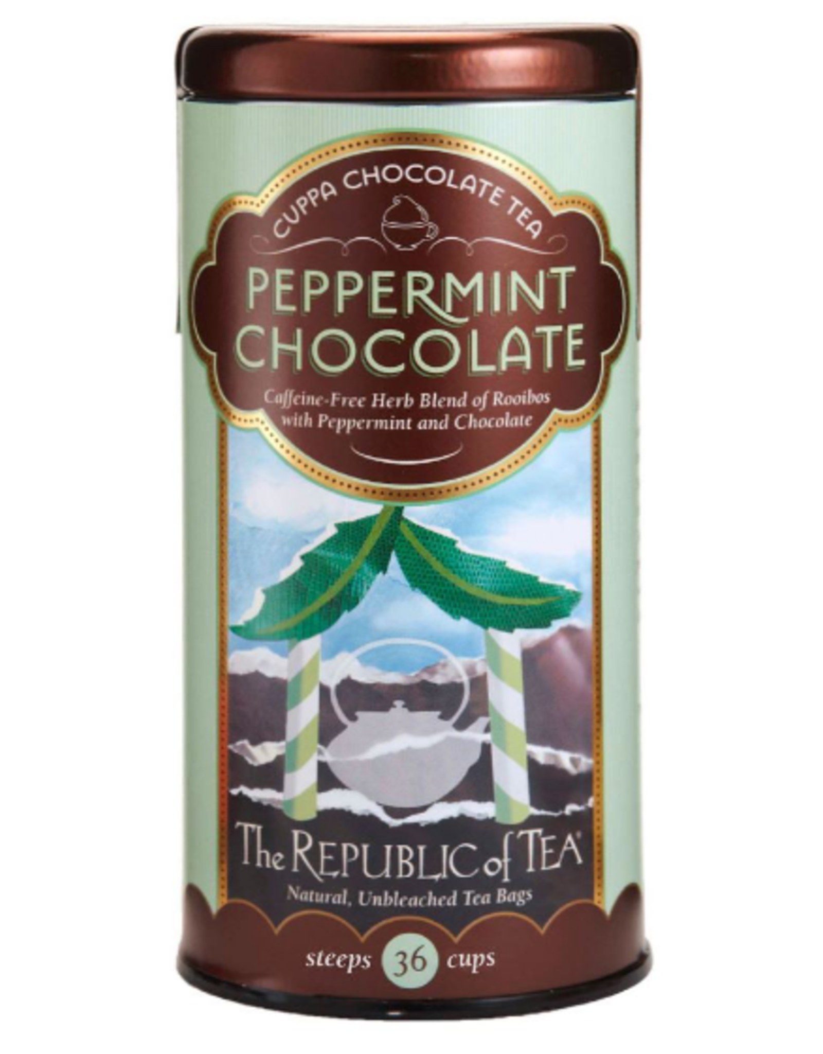 The Republic of Tea Peppermint Chocolate Red Tea, 36 Bag Tin