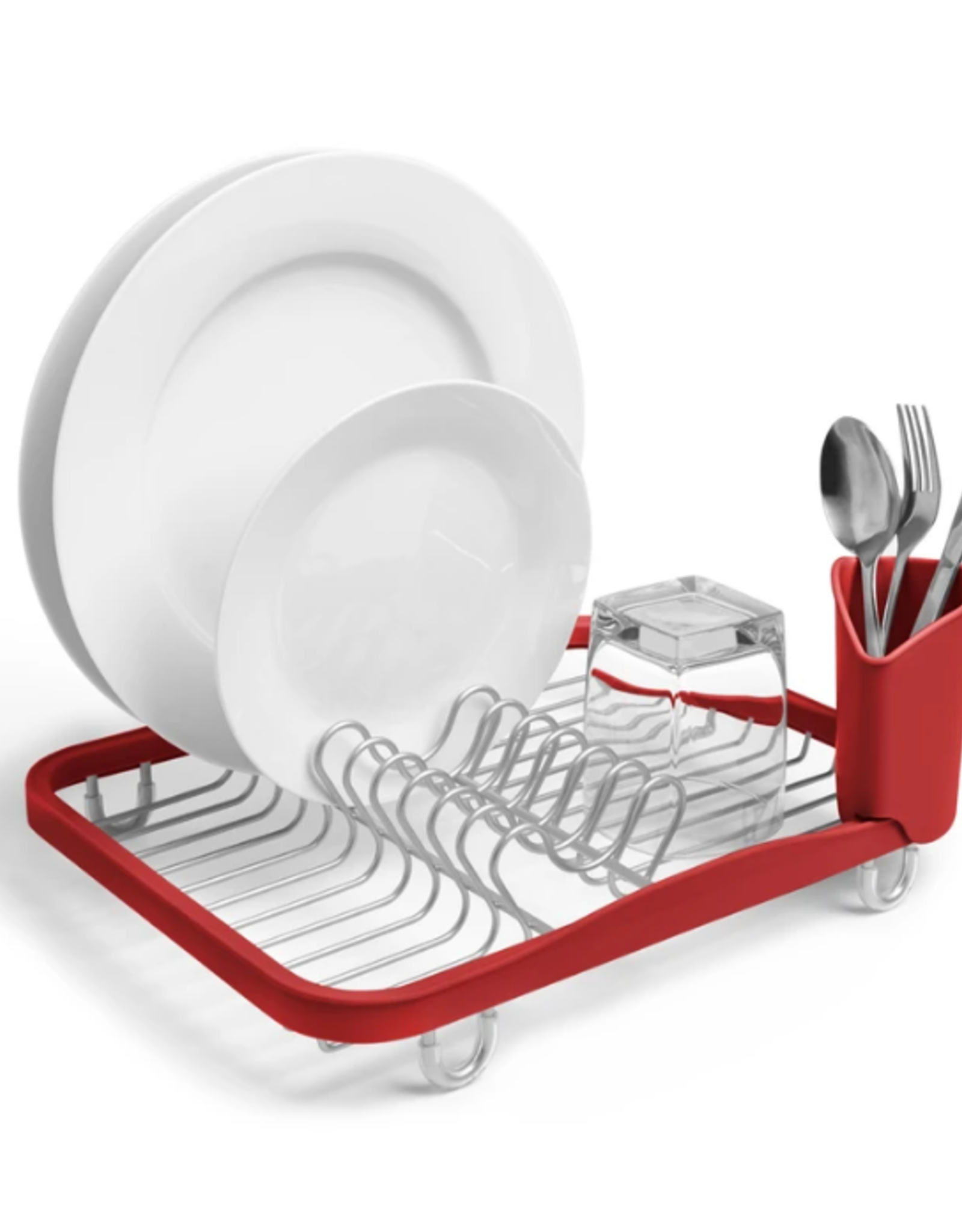 Umbra In-Sink Dish Rack, Red