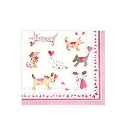 Boston International Cocktail Napkin, Love Heart Dogs