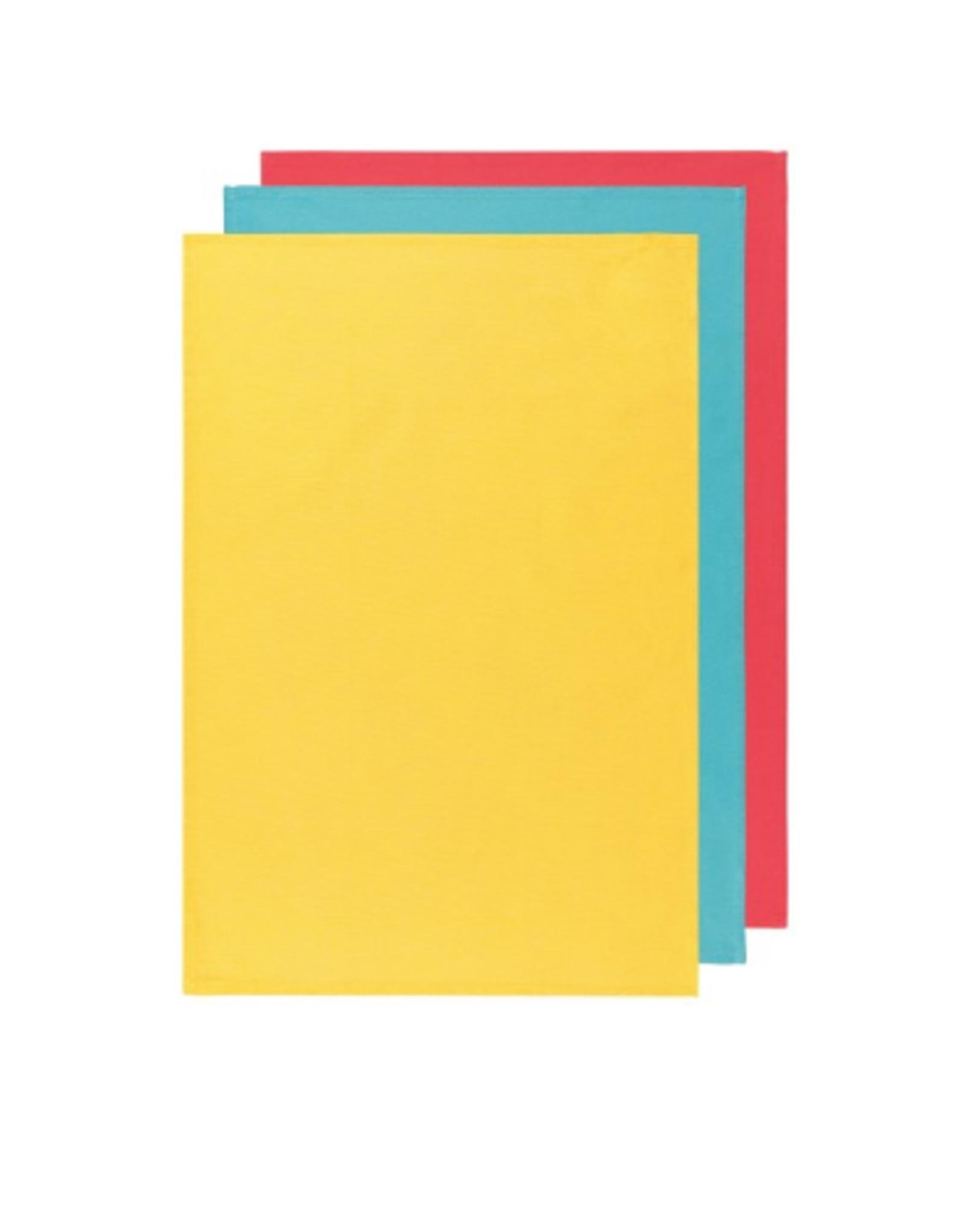 Now Designs Floursack Dishtowel Set, Lemon/Turquoise/Grenadine