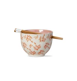 Tag Noodle Bowl w/ Chopsticks, Orange Leaves