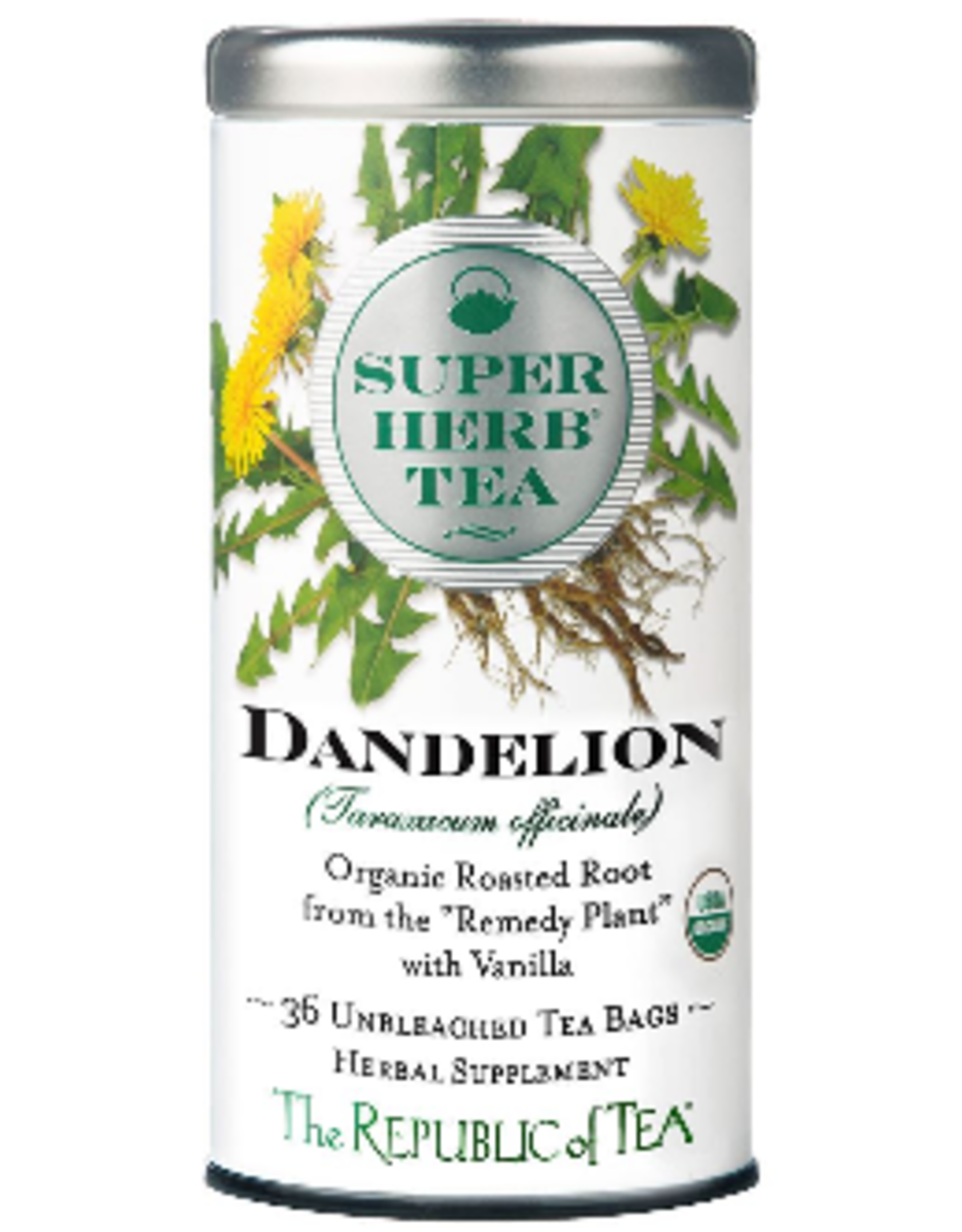 The Republic of Tea Dandelion SuperHerb Tea, 36 Bag Tin