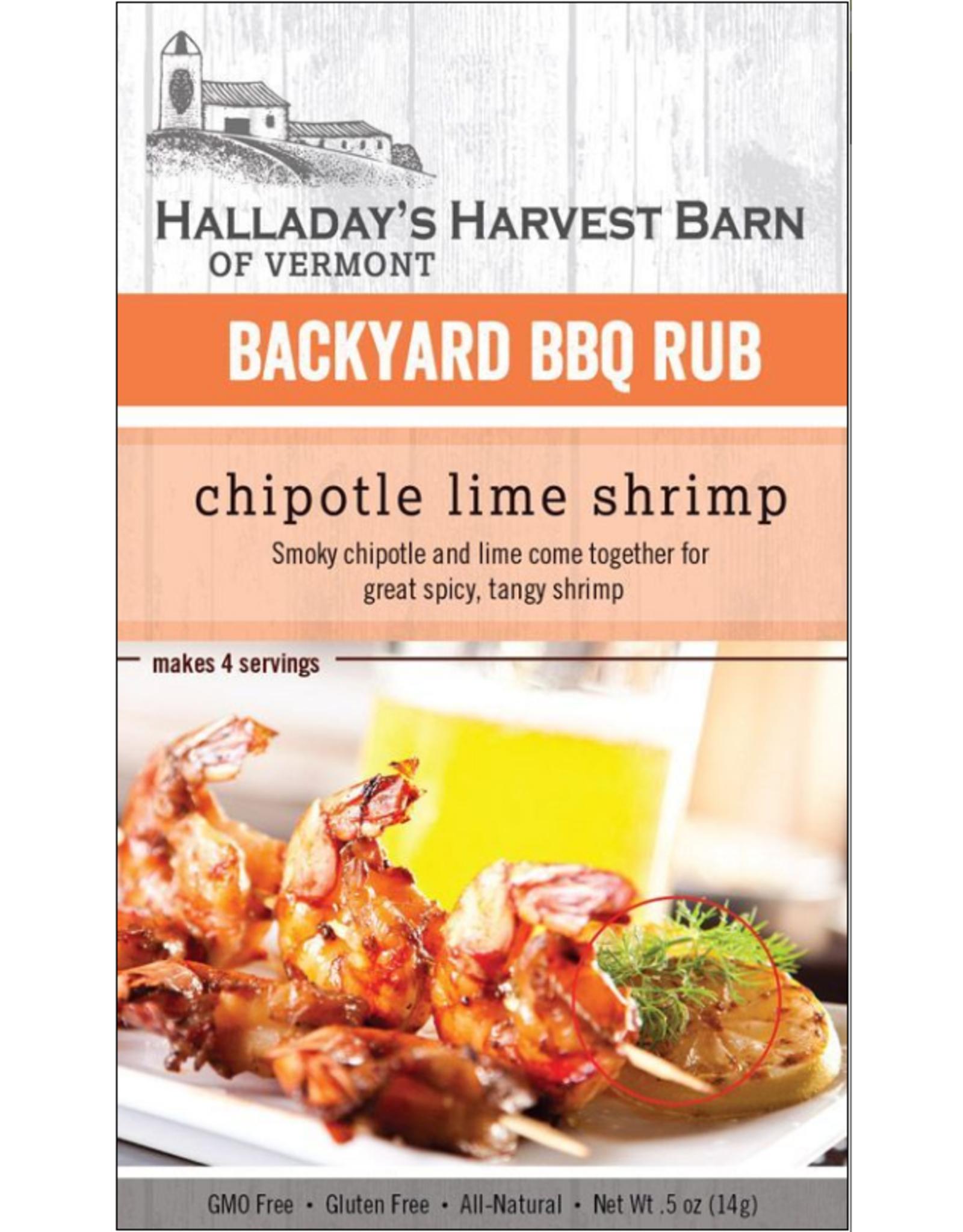 Halladay's Harvest Barn BBQ Rub, Chipotle Lime Grilled Shrimp
