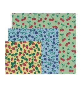 Now Designs Wax Wraps S/3, Berries & Fruit