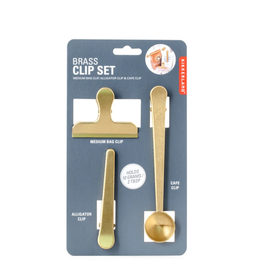 Kikkerland Coffee Brass Clip S/3