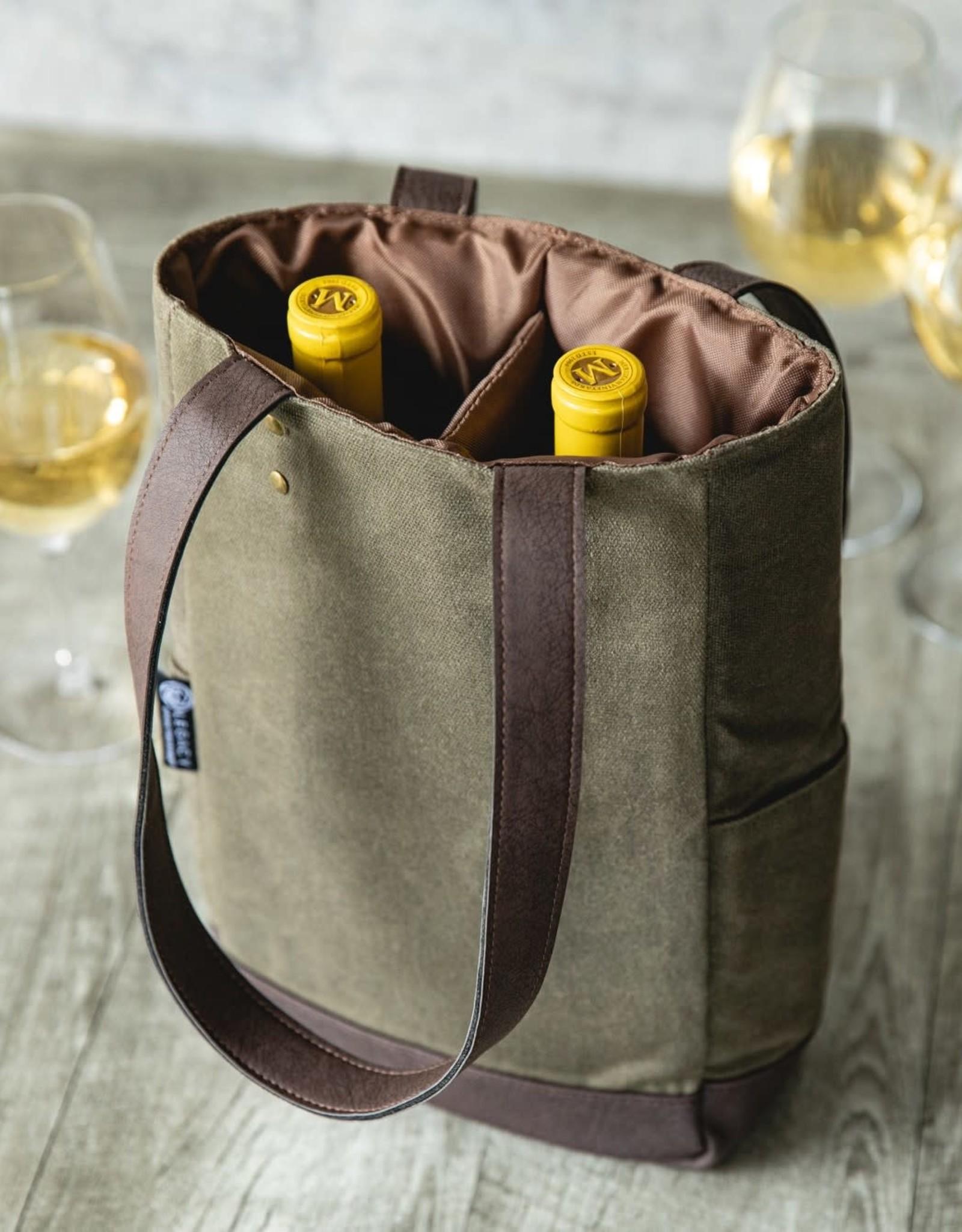 Picnic Time 2 Bottle Wine Bag, Green
