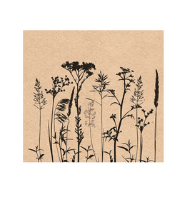 Ampleco Luncheon Napkins, Herbs & Flowers Black