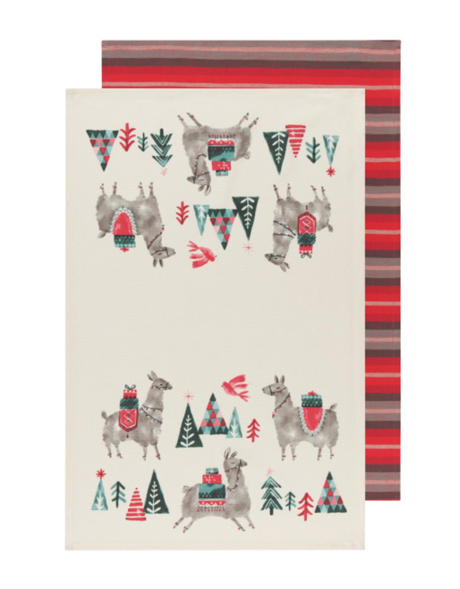 Now Designs Dishtowel S/2, Happy Llamadays