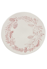 Tag Cake Plate - White & Red Sprig