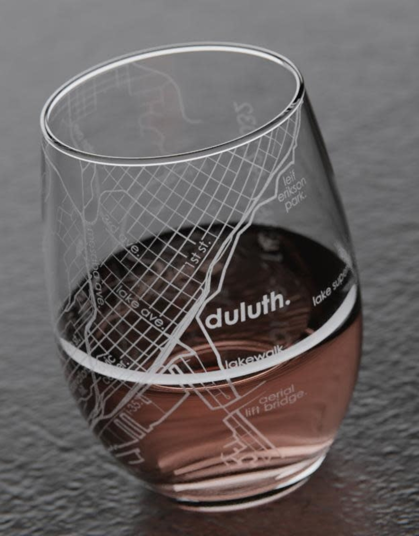 Well Told Duluth MAP Stemless Wine Glass