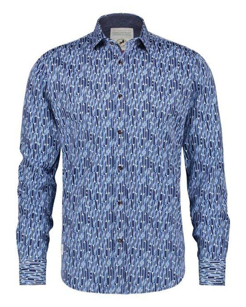 A FISH NAMED FRED Modern Fit Blue Trombones Shirt