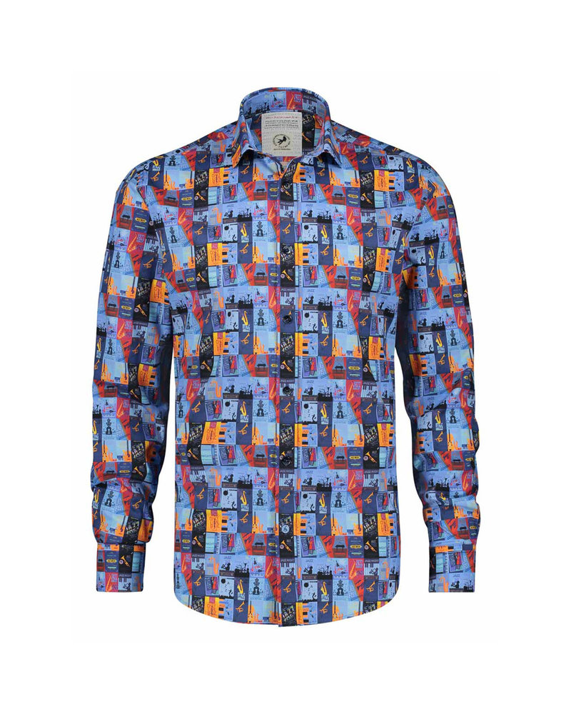 A FISH NAMED FRED Modern Fit Jazz Poster Shirt