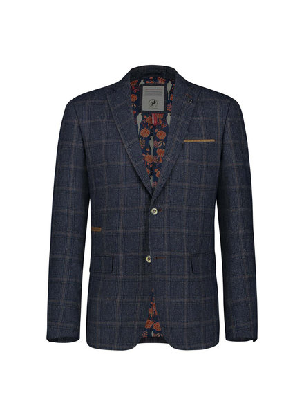 A FISH NAMED FRED Navy Brown Plaid Sport Jacket