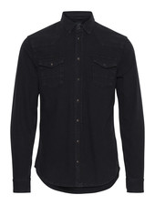BLEND Slim Fit Black Denim Western Shirt