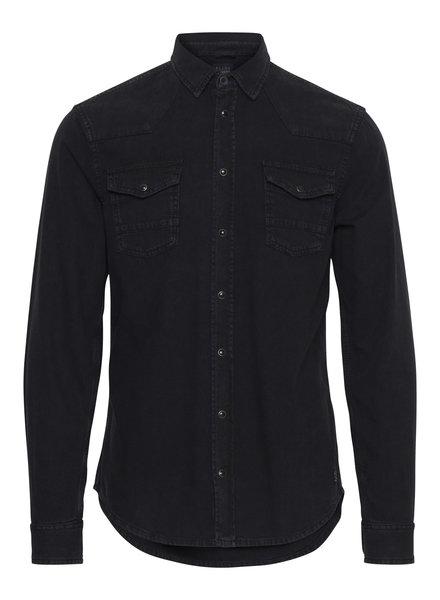 BLEND Slim Fit Black Denim Western Shirt