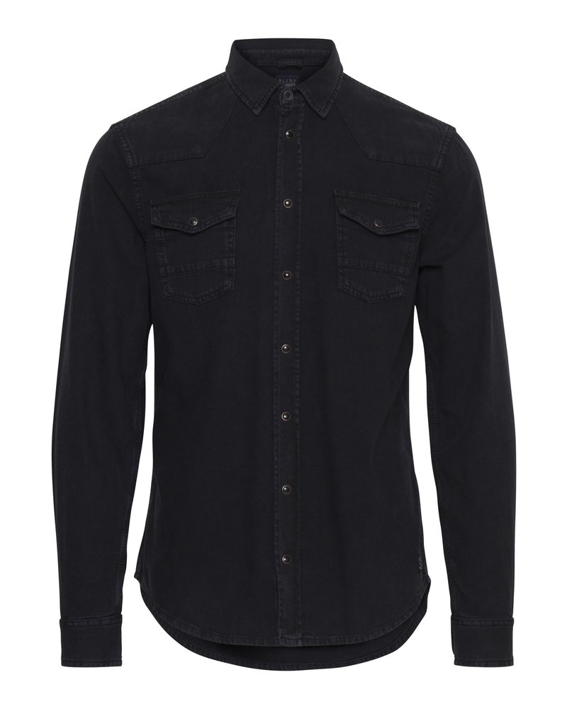 BLEND Black Denim Western Shirt