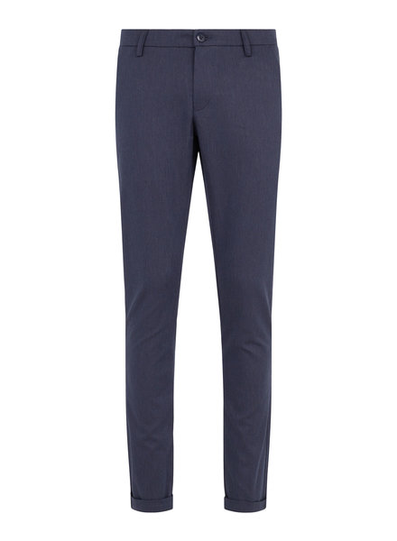 BRUUN & STENGADE Blue Textured Chinos Casual Pant