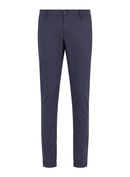 BRUUN & STENGADE Slim Fit Blue Textured Casual Pant