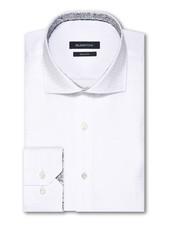 BUGATCHI UOMO Classic Fit White Tonal Check  Shirt