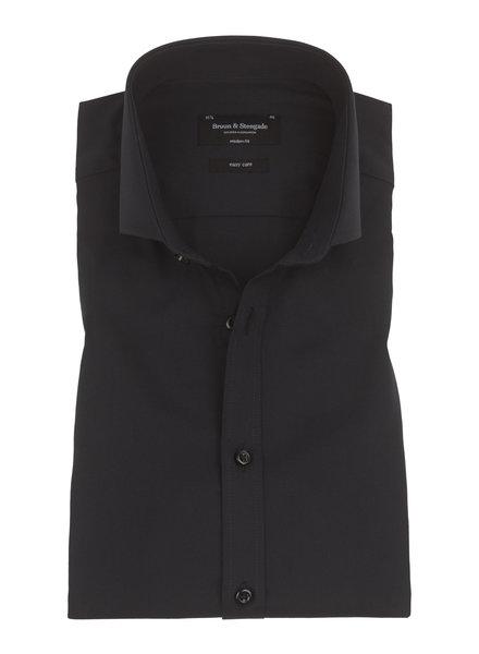 BRUUN & STENGADE Modern Fit Solid Black  Shirt