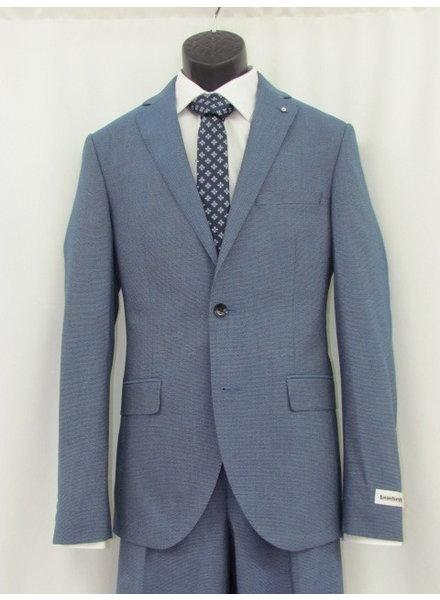 LAMBRETTA Slim Fit Mid Blue Loose Weave Suit