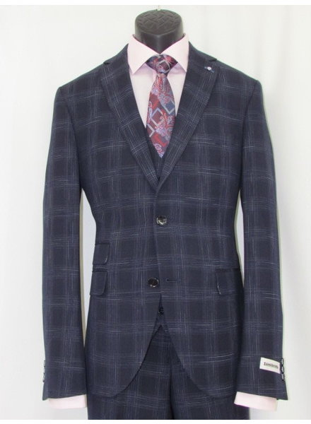 LAMBRETTA Slim Fit Navy With Big Blocks Suit with Vest