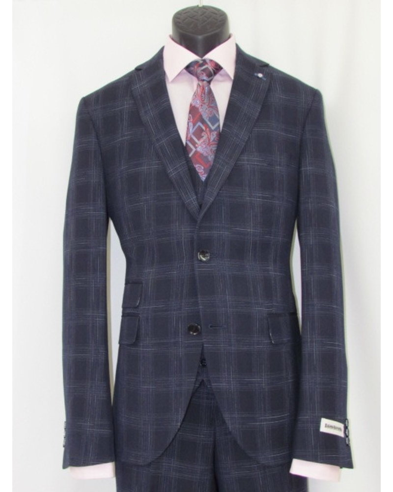 LAMBRETTA Slim Fit Navy With Big Blocks 3 Piece Suit