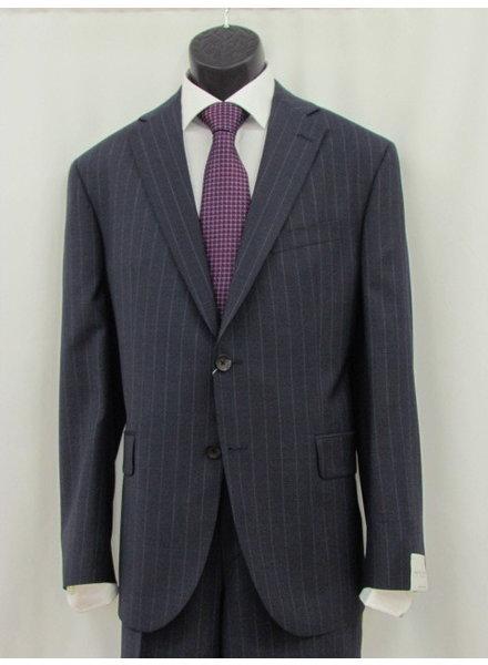JACK VICTOR Modern Fit Mid Blue Striped Suit