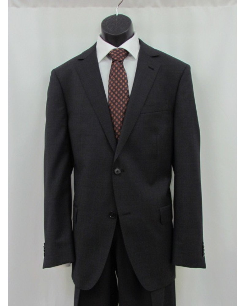 S COHEN Classic Fit Charcoal Nailhead Pick Stitch Suit