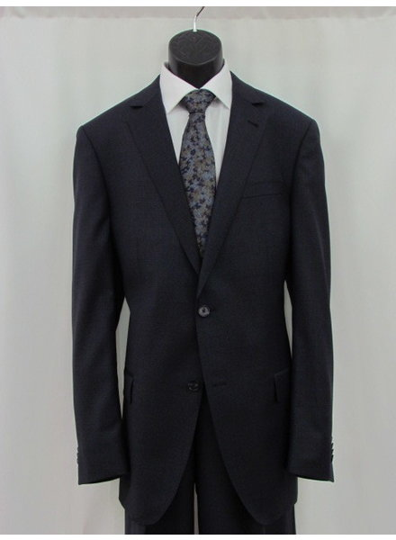 S COHEN Classic Fit Navy with Burgundy Houndstooth Suit