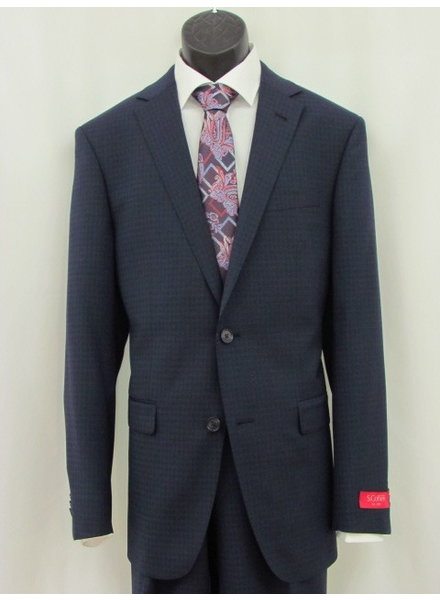 S COHEN Modern Fit Mid Blue Mini Block Suit
