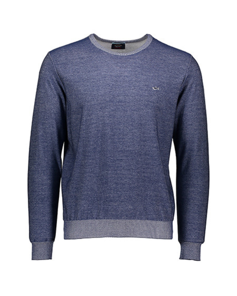 PAUL & SHARK Denim Blue with Self Elbow Patches Sweater
