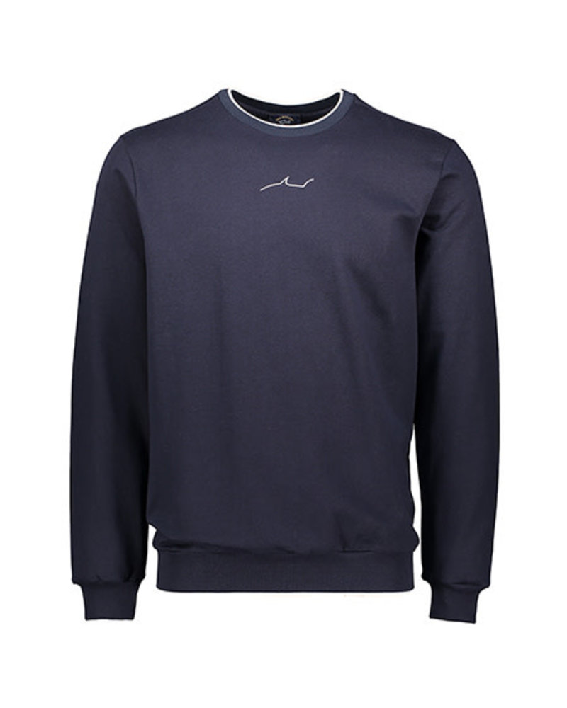 PAUL & SHARK Navy Cotton Jersey Shark Logo Sweatshirt
