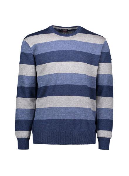 PAUL & SHARK Wool Blue & Grey Striped Sweater