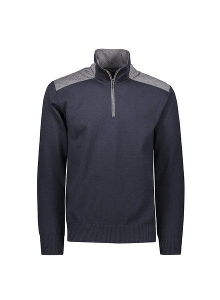 PAUL & SHARK Navy 1/4 Zip with Glen Check Trim Sweater