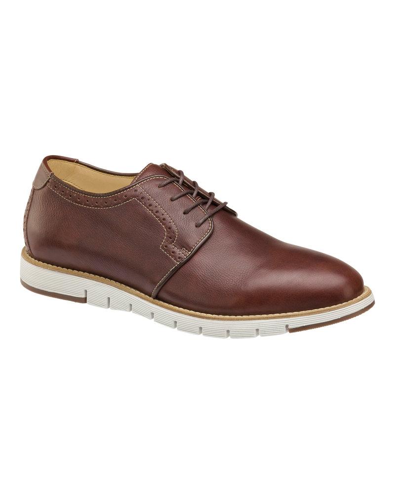 JOHNSTON & MURPHY Martell Plain Toe Mahogany Leather Casual Shoe