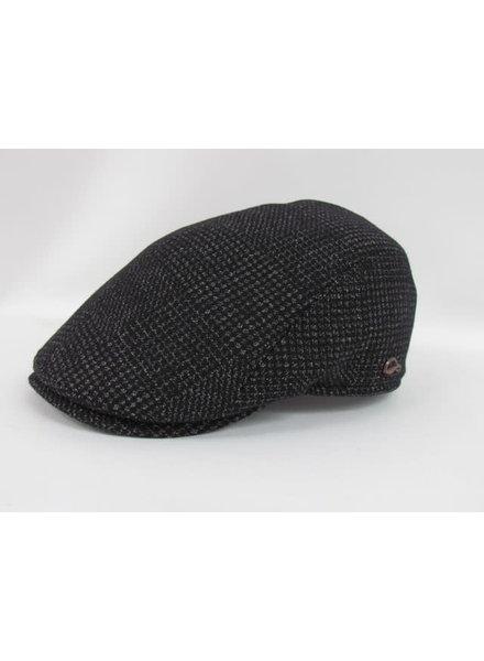 GOTTMANN Black Glencheck Tweed Flat Cap Earflaps
