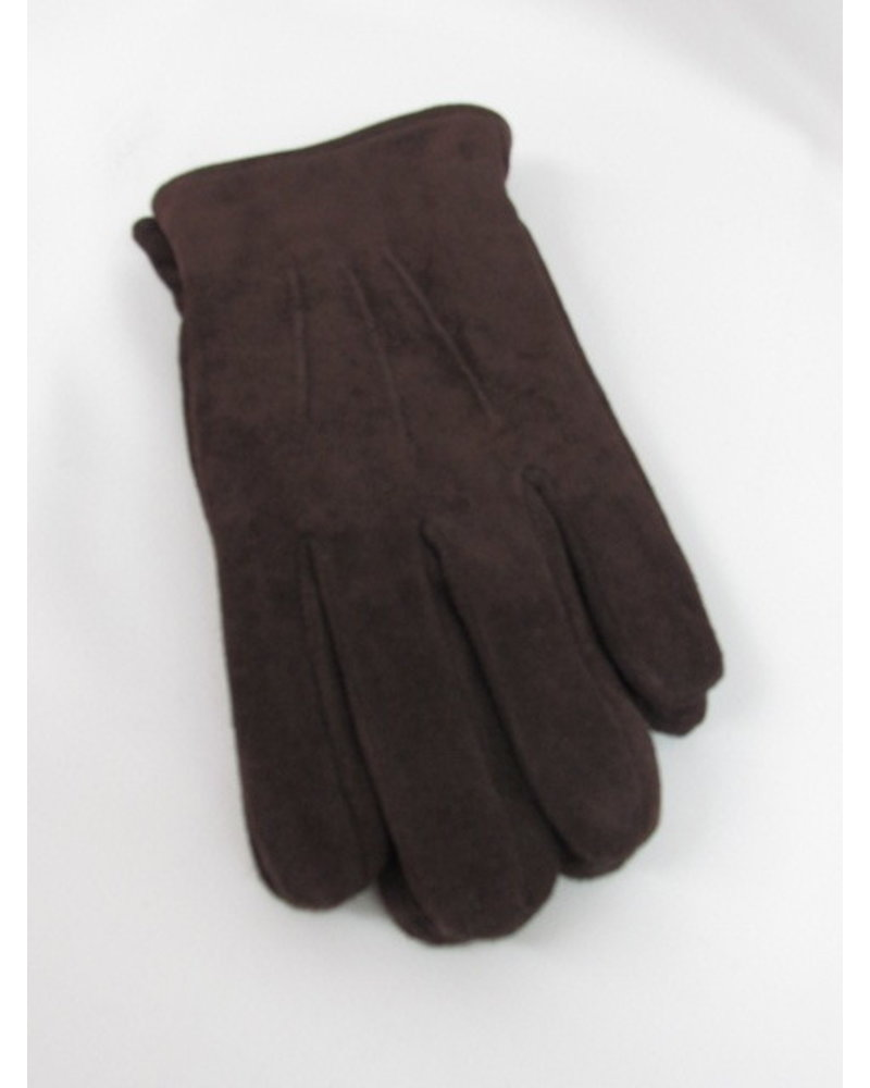 BRUUN & STENGADE Brown Suede Gloves