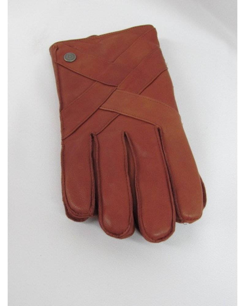 BUGATTI Tan Sheepskin Embellished Gloves