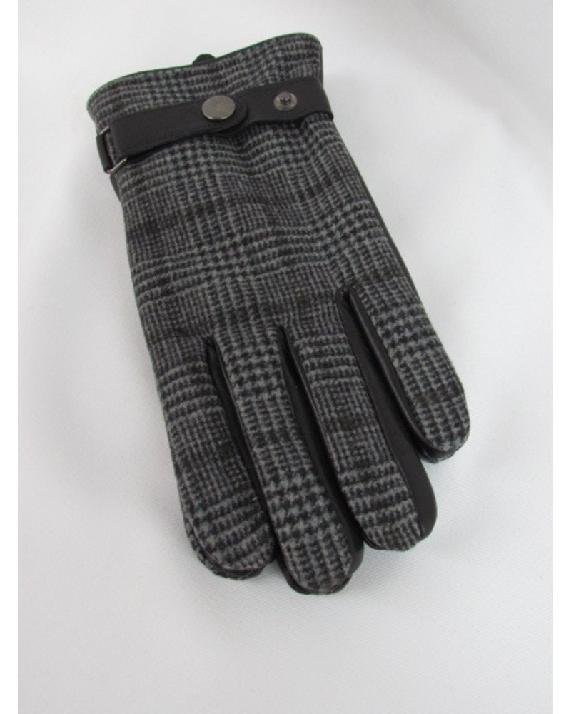 Leather & Wool Plaid Gloves