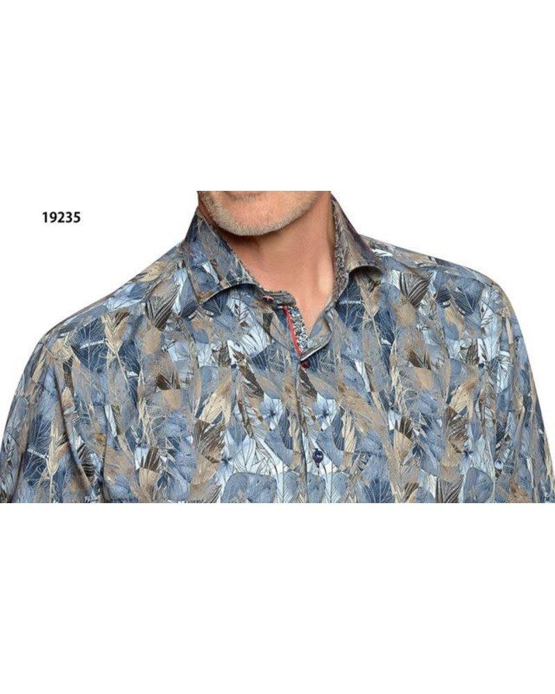 7 DOWNIE Contemporary Fit Blue & Beige Leaf Print