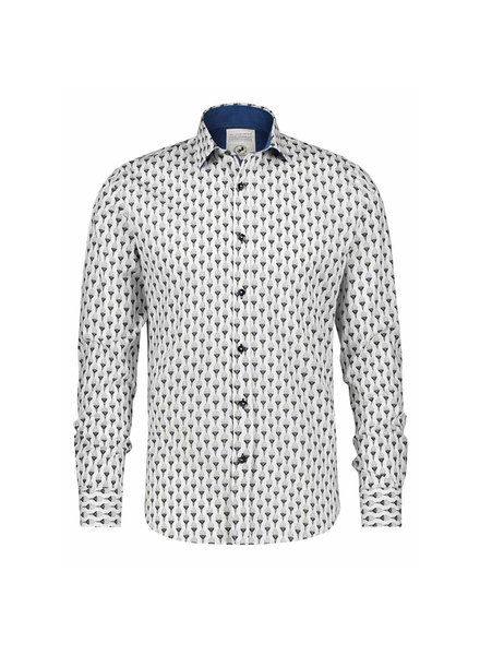 A FISH NAMED FRED Modern Fit Art Deco Ornaments White Shirt