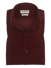 BRUUN & STENGADE Slim Fit Bordeaux Corduroy Shirt
