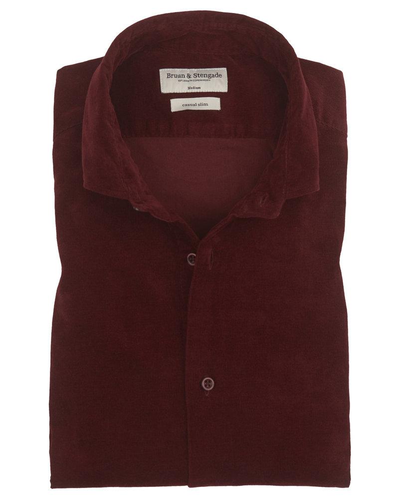 BRUUN & STENGADE Slim Fit Bordeaux Corduroy Shirt