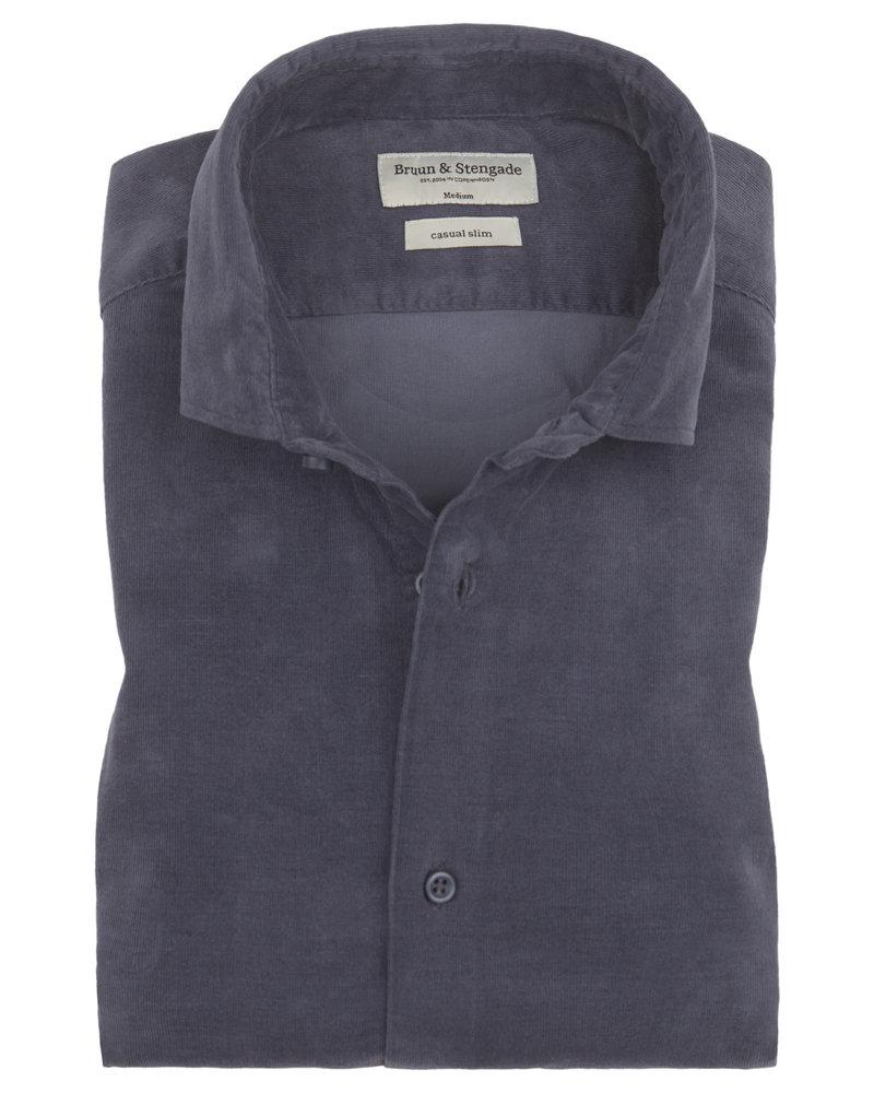 BRUUN & STENGADE Slim Fit Blue Corduroy Shirt
